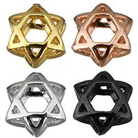 Messing Großes Loch Perlen, Hexagram, plattiert, hohl, keine, 9.50x10.50x6.50mm, Bohrung:ca. 5x4mm, 50PCs/Menge, verkauft von Menge