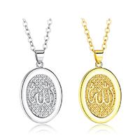 Messing Halskette, plattiert, Oval-Kette & für Frau, keine, frei von Nickel, Blei & Kadmium, 23x29mm, verkauft per ca. 20 ZollInch Strang