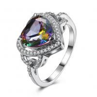comeon® Finger-Ring, Messing, Herz, platiniert, verschiedene Größen vorhanden & für Frau & mit kubischem Zirkonia, 14mm, verkauft von PC
