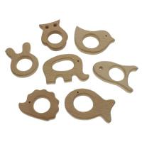 Holz Anhänger, Tier, verschiedene Stile für Wahl, 60x46x10mm, 76x56x10mm, Bohrung:ca. 2-6mm, 100PCs/Tasche, verkauft von Tasche