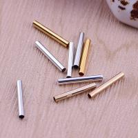 Messing Rundes Rohr, plattiert, frei von Nickel, Blei & Kadmium, 15x2mm, Bohrung:ca. 2mm, 100PCs/Tasche, verkauft von Tasche