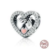 Thailand European Perlen, Herz, Micro pave Zirkonia & ohne troll & Emaille, 13x13mm, Bohrung:ca. 4.5mm, verkauft von PC
