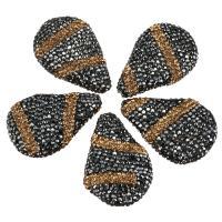 Strass Ton befestigte Perlen, Tropfen, 26-27x39-40x10-11mm, Bohrung:ca. 1mm, 10PCs/Menge, verkauft von Menge