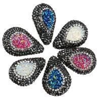 Strass Ton befestigte Perlen, mit Eisquarz Achat, Tropfen, natürliche & druzy Stil, keine, 19-21x28-29x12-13mm, Bohrung:ca. 1mm, 10PCs/Menge, verkauft von Menge