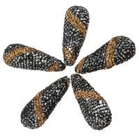 Strass Ton befestigte Perlen, 14-16x36-39x14-16mm, Bohrung:ca. 2mm, 10PCs/Menge, verkauft von Menge