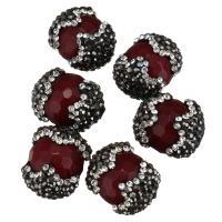 Strass Ton befestigte Perlen, mit gefärbte Jade, facettierte, dunkelrot, 14-17x17-20x14-17mm, Bohrung:ca. 2mm, 10PCs/Menge, verkauft von Menge