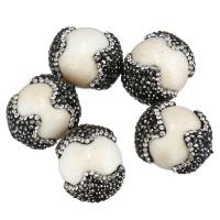 Strass Ton befestigte Perlen, mit Weiße Porzellan, 18-21x24-27x18-21mm, Bohrung:ca. 2mm, 10PCs/Menge, verkauft von Menge