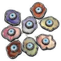 Evil Eye Anhänger, gemischter Achat, mit Messing Stiftöse & Ton & Harz, Hamsa, Platinfarbe platiniert, natürliche & böser Blick- Muster, keine, 33-35x40-42x10-12mm, Bohrung:ca. 2mm, 10PCs/Menge, verkauft von Menge