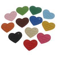 PU Leder Anhänger, Herz, mit Brief Muster, keine, 28x30x3mm, Bohrung:ca. 1mm, 100PCs/Tasche, verkauft von Tasche