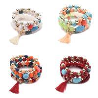 Verkupferter Kunststoff Armbänder, mit Wolle & Acryl, für Frau, keine, 60-80mm, Länge:ca. 6-8 ZollInch, 4SträngeStrang/setzen, verkauft von setzen