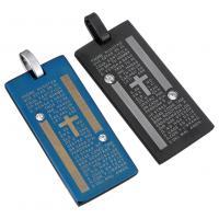 Edelstahl Schmuck Anhänger, Rechteck, plattiert, mit Brief Muster & mit Strass, keine, 18x38x3mm, Bohrung:ca. 4x5mm, verkauft von PC