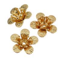 Messing Perlenkappe, Blume, vergoldet, 11.50x11x4.50mm, Bohrung:ca. 1mm, 50PCs/Menge, verkauft von Menge