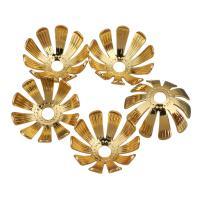 Messing Perlenkappe, Blume, vergoldet, 13x13x5.50mm, Bohrung:ca. 2.5mm, 200PCs/Menge, verkauft von Menge
