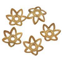 Messing Perlenkappe, Blume, vergoldet, hohl, 8x7x2.50mm, Bohrung:ca. 1.3mm, 500PCs/Menge, verkauft von Menge