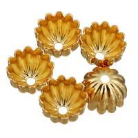 Messing Perlenkappe, Blume, vergoldet, 9x9x6mm, Bohrung:ca. 1.5mm, 100PCs/Menge, verkauft von Menge