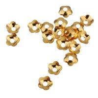 Messing Perlenkappe, vergoldet, 4x4x1.20mm, Bohrung:ca. 1.2mm, 500PCs/Menge, verkauft von Menge