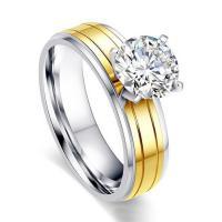 Strass Ringe, Titanstahl, plattiert, verschiedene Größen vorhanden & für Frau & mit Strass, keine, 6mm, verkauft von PC