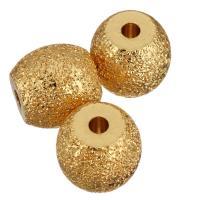 Messing Großes Loch Perlen, Trommel, vergoldet, gehämmert, 14x13.50x14mm, Bohrung:ca. 3mm, 50PCs/Menge, verkauft von Menge
