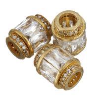 Messing European Perlen, vergoldet, ohne troll & mit kubischem Zirkonia, 9x12x9mm, Bohrung:ca. 5mm, 10PCs/Menge, verkauft von Menge
