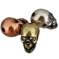 Befestigte Zirkonia Perlen, Messing, Schädel, plattiert, Micro pave Zirkonia, keine, 8x10x13.50mm, Bohrung:ca. 1.8mm, 20PCs/Menge, verkauft von Menge