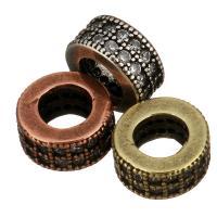 Messing Großes Loch Perlen, Rad, plattiert, Micro pave Zirkonia, keine, 7x3.50mm, Bohrung:ca. 4mm, 20PCs/Menge, verkauft von Menge