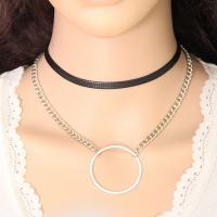 Mode-Halskette, Zinklegierung, mit Nylonschnur, plattiert, Twist oval & für Frau & 2 strängig, keine, frei von Nickel, Blei & Kadmium, 40mm, verkauft per ca. 11.8-12.9 ZollInch Strang