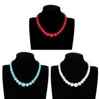 Mode-Halskette, Synthetische Türkis, mit Verlängerungskettchen von 5cm, rund, für Frau, keine, 15mm, verkauft per ca. 11 ZollInch Strang