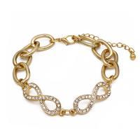 Zinklegierung Armband, mit Verlängerungskettchen von 2inch, Unendliche, goldfarben plattiert, Oval-Kette & für Frau & mit Strass, 12mm, verkauft per ca. 7 ZollInch Strang