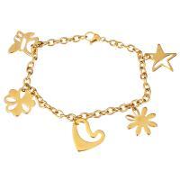 Edelstahl Schmuck Armband, goldfarben plattiert, Armband  Bettelarmband & Oval-Kette & für Frau, 16.5x16.5mm, 16x17mm, 4mm, verkauft per ca. 7.5 ZollInch Strang