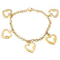 Edelstahl Schmuck Armband, Herz, goldfarben plattiert, Armband  Bettelarmband & Oval-Kette & für Frau, 16x18mm, 4mm, verkauft per ca. 7 ZollInch Strang