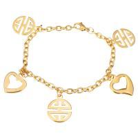 Edelstahl Schmuck Armband, goldfarben plattiert, Armband  Bettelarmband & Oval-Kette & für Frau, 15.5x19.5mm, 15x19mm, 4mm, verkauft per ca. 7.5 ZollInch Strang