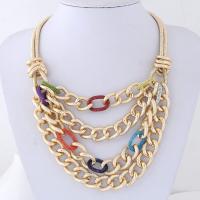 Messing Halskette, Zinklegierung, goldfarben plattiert, Einbrenn-Lack & für Frau, keine, frei von Nickel, Blei & Kadmium, 90x100mm, verkauft per ca. 14.9 ZollInch Strang