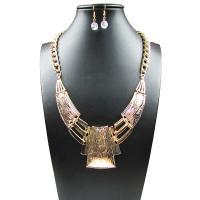 Zinklegierung Schmucksets, Ohrring & Halskette, Eisen Haken, mit Verlängerungskettchen von 6cm, goldfarben plattiert, für Frau, frei von Blei & Kadmium, 3.3x1cm, Länge:ca. 20.4 ZollInch, verkauft von setzen