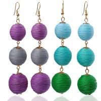 Zinklegierung Ohrringe, mit Wolle, goldfarben plattiert, Bohemian-Stil & für Frau, keine, frei von Nickel, Blei & Kadmium, 95mm, verkauft von Paar