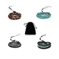 Kuhhaut Wrap Armband, mit Edelstein, verschiedenen Materialien für die Wahl & unisex & einstellbar & 3-Strang, frei von Nickel, Blei & Kadmium, verkauft per ca. 21 ZollInch Strang