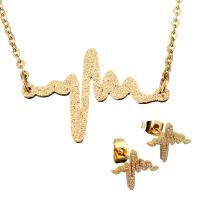 Edelstahl Schmucksets, Ohrring & Halskette, goldfarben plattiert, Oval-Kette & für Frau & Falten, 27x18mm, 1.5mm, 13x10.5mm, Länge:ca. 19 ZollInch, verkauft von setzen