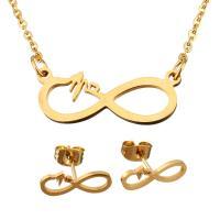 Edelstahl Schmucksets, Ohrring & Halskette, Unendliche, goldfarben plattiert, Oval-Kette & für Frau, 23x9mm, 1.5mm, 15x6mm, Länge:ca. 19 ZollInch, verkauft von setzen