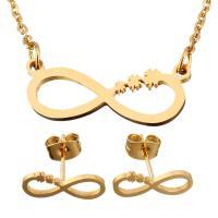 Edelstahl Schmucksets, Ohrring & Halskette, Unendliche, goldfarben plattiert, Oval-Kette & für Frau, 23.5x9mm, 1.5mm, 15x5.5mm, Länge:ca. 19 ZollInch, verkauft von setzen