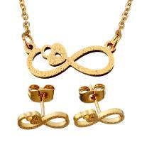 Edelstahl Schmucksets, Ohrring & Halskette, Unendliche, goldfarben plattiert, Oval-Kette & für Frau & Falten, 20x7.5mm, 1.5mm, 13.5x6mm, Länge:ca. 18.5 ZollInch, verkauft von setzen