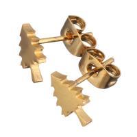 Edelstahl Ohrringe, Baum, goldfarben plattiert, für Frau, 6x9.50mm, 12PaarePärchen/Menge, verkauft von Menge