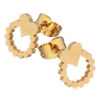 Edelstahl Ohrringe, goldfarben plattiert, für Frau, 9x10.50mm, 12PaarePärchen/Menge, verkauft von Menge