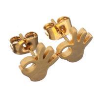 Edelstahl Ohrringe, Hand, goldfarben plattiert, für Frau, 9x10mm, 12PaarePärchen/Menge, verkauft von Menge