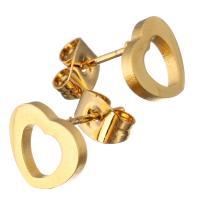 Edelstahl Ohrringe, Herz, goldfarben plattiert, für Frau, 9.50x8.50mm, 12PaarePärchen/Menge, verkauft von Menge