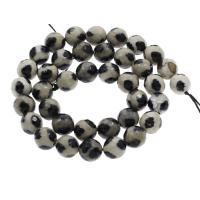 Tibetan Achat Perle, rund, facettierte, 10mm, Bohrung:ca. 1.5mm, ca. 38PCs/Strang, verkauft per ca. 15.3 ZollInch Strang