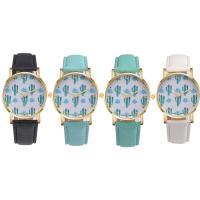 Damen Armbanduhr, PU Leder, mit Glas & Edelstahl & Zinklegierung, goldfarben plattiert, für Frau, keine, 38x6mm, Länge:ca. 9 ZollInch, verkauft von PC