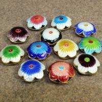 Cloisonne Perlen, Cloisonné, Blume, handgemacht, hohl, keine, 19x19mm, Bohrung:ca. 2mm, 10PCs/Tasche, verkauft von Tasche
