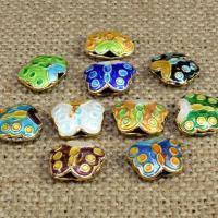 Cloisonne Perlen, Cloisonné, Schmetterling, handgemacht, hohl, keine, 12x10mm, Bohrung:ca. 1.5mm, 10PCs/Tasche, verkauft von Tasche