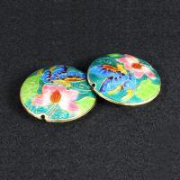 Cloisonne Perlen, Cloisonné, flache Runde, handgemacht, keine, 42mm, Bohrung:ca. 1.5mm, verkauft von PC