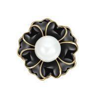 Kunststoffperlenbrosche, Zinklegierung, mit ABS-Kunststoff-Perlen, Blume, goldfarben plattiert, für Frau & Emaille, keine, frei von Blei & Kadmium, 26x26mm, verkauft von PC