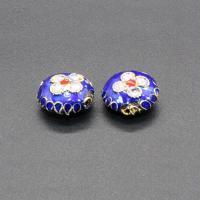 Cloisonne Perlen, Cloisonné, flache Runde, handgemacht, blau, 11mm, Bohrung:ca. 1.5mm, 10PCs/Tasche, verkauft von Tasche